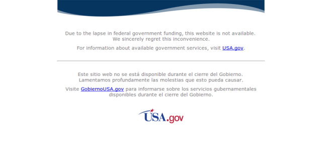 The US government's data.gov home page on 1 October 2013.